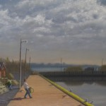 Spring on the Wharf, Oil on Canvas, 24 x 36 in. - Kris Taylor Art