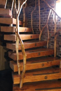 Wooden Spiral Staircase at Harmony House Theatre