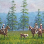 Cowboys on Horseback In Field With Calf - Kris Taylor Art