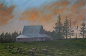 Evening Graze on Colville Road, PEI - Oil on Canvas, 24x36 inches - Kris Taylor Art