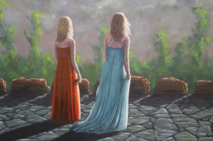 Girls in Prom Dresses on Stone Patio - Oil on Canvas, 22x38 inches - Kris Taylor Art