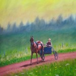 Horse Pulling Sulky on PEI Red Dirt Track - Kris Taylor Art
