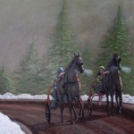 Horses Pulling Sulkies on Dirt Track in Winter - Kris Taylor Art