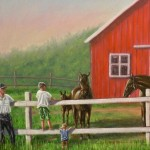 Kids and Grandpa Feeding Horses in Paddock by Barn - Kris Taylor Art