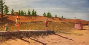 Kids on PEI North Shore Beach - Tight Rope Logging - 24x48 inches, Oil on Canvas - Kris Taylor Art